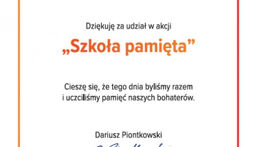 """Obrazek newsa Dyplom """"Szkoła pamięta"""""""
