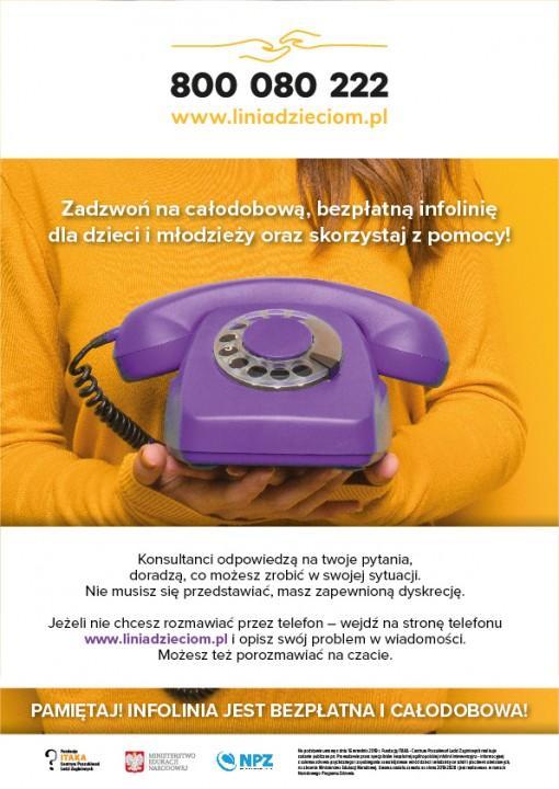 Obrazek newsa Bezpłatna infolinia dla dzieci, młodzieży, rodziców i nauczycieli